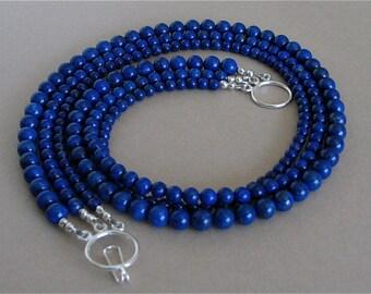 Lapis Lazuli 3 Strand Necklace - Blue Lapis Multi Strand Necklace with Sterling Silver Clasp - Classic Southwest Lapis Necklace