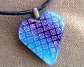 Dichroic blue glass heart pendant