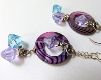 Purple Shell and Crystal Dangle Earrings, Purple Shell Hoop Earrings, Long Nautical Earrings, Purple Sterling Silver Beach Earrings,