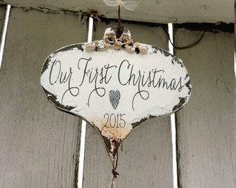 OUR FIRST CHRISTMAS Ornament, Dating Couples Ornament, Vintage Inspired Christmas Ornament, Shabby Chic Ornament, Dangling Crystals