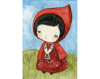 Little Red Riding Hood - Giclee Reproduction Of Original Watercolor Painting By Danita Art (Paper Prints and ACEO Wood Mounted)