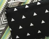 Triangles - Zipper Pouch - Change Purse - Small Bag - Cosmetics Bag - Clutch - Bag