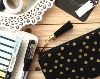Gold dots on black - Pencil pouch, pencil case, planner pouch, pencil bag with tassel pull