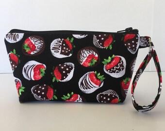 Wristlet makeup bag, cosmetic bag, zipper pouch, zipper bag, chocolate, strawberries, (521)
