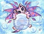 Fairy Cat Painting Bubble Fairy Cat Art Cute Pink Kitten Fantasy Big Eye Art Whimsical Cat Art Print 8x10 Cat Lovers Art
