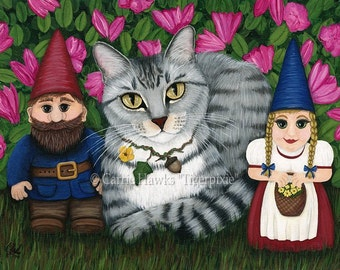 Garden Gnomes Portrait Silver Tabby Cat Painting Tabby Cat Art Azalea Flowers Whimsical Cat Art Print 8x10 Cat Lovers Art