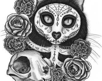 Day of the Dead Cat Skull Art Cat Drawing Gothic Mexican Sugar Skull Cat Fantasy Cat Art Print 8x10 Cat Lovers Art