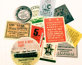 11pcs RETRO TRAVEL STICKERS Vintage Ferry Pass & Tickets