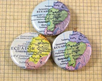 Ecuador Map Pinback Button Set