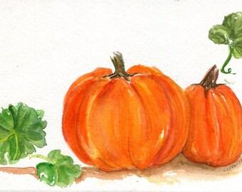 Pumpkin watercolors paintings original, vegetables watercolor painting, Halloween pumpkin home decor, food art 5 x 7, original watercolor