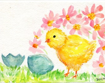 Chick watercolors paintings original,  Baby Chicken Art, Small Easter wall art, nursery chick art 4 x 6
