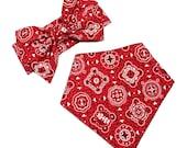 Bibdana & Headwrap Matching Set, Bandana Bib, Baby Girl Bibdana, Infant Headwrap, Big Bow, Red Bandana, Black, White - RED BLACK BANDANA