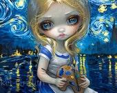 Alice in a Van Gogh Nocturne art print by Jasmine Becket-Griffith 8x10 wonderland starry night vincent impressionist