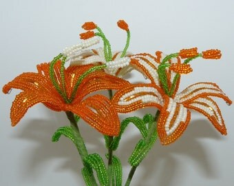 Three French Beaded Lilies In Orange & Cream