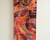 Foxfire, kitsune, fox spirit, fox art, kimono, art hanging, wall scroll, - by Meredith Dillman