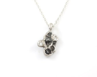 Meteorite Pendant with Rough Diamonds and Moissanite in Sterling Silver - Ready to Ship