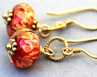 Orange Lampwork Earrings, Glass Earrings, Gold Vermeil Earrings, Dangle Earrings, Lampwork Jewelry