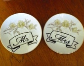 Mr Mrs hand painted vintage porcelain saucer pair with hangers recycled tattoo style couples wedding gift display decor