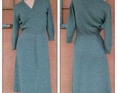 Vintage 1970s Dress 70s Knit Sweater Dress Moss Green B36 US10 2015553