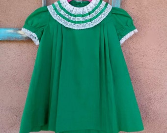 Vintage 1960s Girls Dress Kelly Green Lace Collar Sz 4 2015508