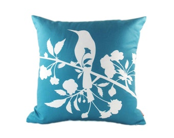 Teal Blooming Blossom 18 Inches Square Linen Pillow