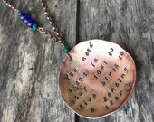 Reversable Nietzsche quote necklace with enamel and beads