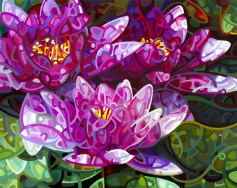 three water lilies in a dark quiet pool, pink, green, flowers, Large Signed Fine Art Giclee Print from my Original Painting - Triumvirate