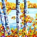 quiet fall day on the lake, autumn, fall, orange, blue, cottage, Medium Signed Fine Art Giclee Print from my Original Painting - Lakeside