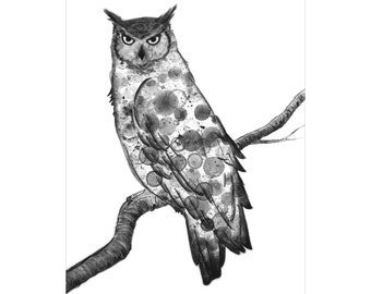 Owl 8X10 print of my original ink painting, animal painting, ink bubble