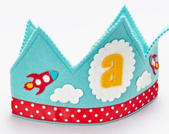 rocket birthday party - red felt birthday crown - outer space party