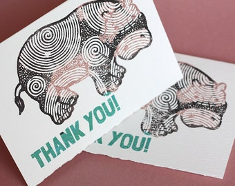 Happy Hippo Thank You Notecards, set of 4