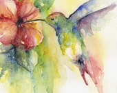Watercolor Hummingbird Original Painting, Hummingbird Decor