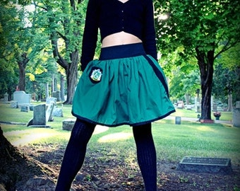 SLYTHERIN Mini Skirt - Black Elastic Waist with Patch and Wand Pocket - SMALL