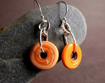 Orange Creamsicle Earrings, Glass Donut Bead Earrings, Swirly Orange White Round Glass Bead Earrings Hot Orange Sterling Glass Earrings