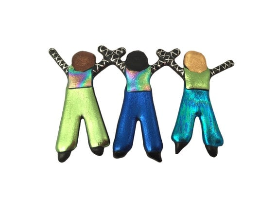 Create Your Own Three People Pin, Sisters, Brothers, Children, Friends Jewelry
