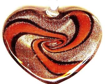Breathtaking Copper - Red - Black Swirled Heart Pendant 49mm 1 pc