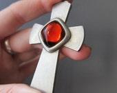 Vintage Jorgen Jensen Pewter Cross Necklace with Red Glass Cabochon