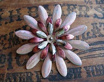 Vintage Summer Stacked Patina Flower Pendant No.1