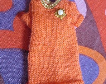 Odds & Ends SALE - Blythe:  Orange dress with gold bead brooch detail - very classy!
