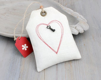 Lavender Sachet with Red Stitched Heart, Gift Tag Style