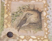 Fabric collage on stretched canvas using fabric image of bird and nest, lace, paper, country chic, shabby chic art for the home