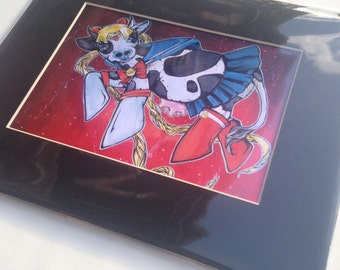 Sailor Moo! Sailor Moon Cow - limited matted giclee print 8x10