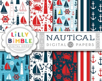50% off Nautical digital paper, sailboats, lighthouses, anchors, sailing, crabs, sea, ocean, scrapbook papers INSTANT DOWNLOAD