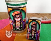 Catrina Day of the Dead Small Prayer Candle and Matchbox