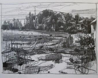 Churchyard Tower, Original Plein Air Landscape Pencil Drawing, Stooshinoff