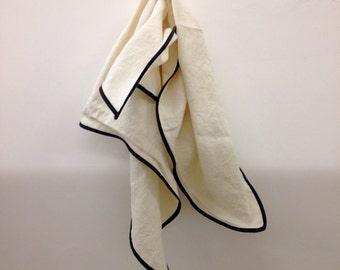 Bandana - linen and lambskin - natural with black trim