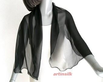 "Black Petite Scarf Coverup, Silk Chiffon 10mm Small Sheer Shoulder Scarf, Small Evening Formal Wrap, Pure Mulberry Silk 18"" x 54"", Artinsilk"