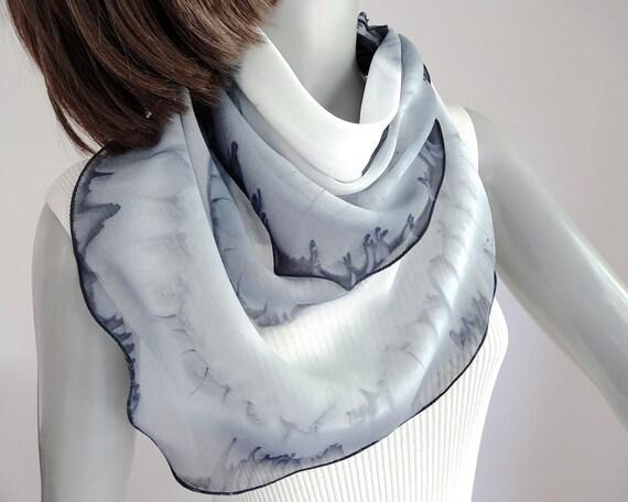 Black Gray White Scarf, Small Square Scarf, Sheer Silk Chiffon, One of a Kind Scarf, Hand Painted Silk, Jossiani Handmade