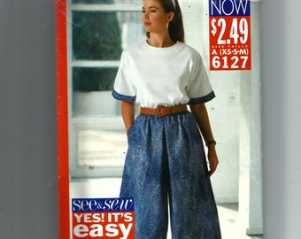 Butterick Misses' Top and Culottes  Pattern 6127