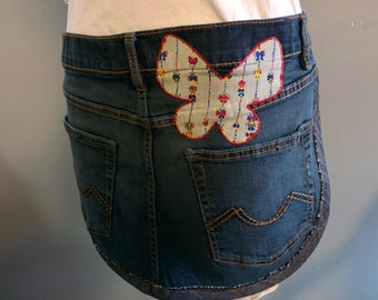 Recycled Denim Apron - two pocket, button closure (Butterfly)